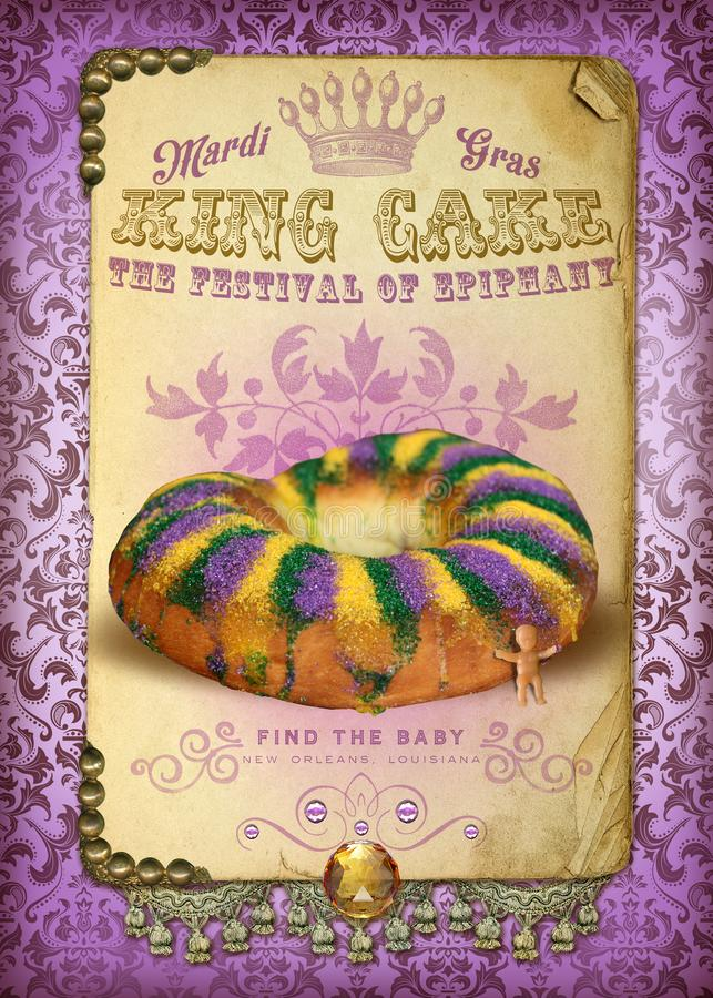 NOLA Culture Collection Mardi Gras-König Cake vektor abbildung