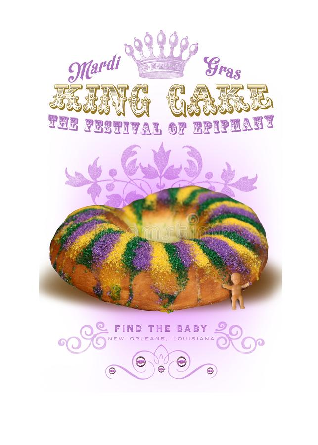 NOLA Culture Collection Mardi Gras-König Cake lizenzfreie abbildung