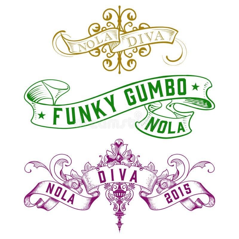 NOLA Diva Funky Gumbo New Orleans-Designe vektor abbildung