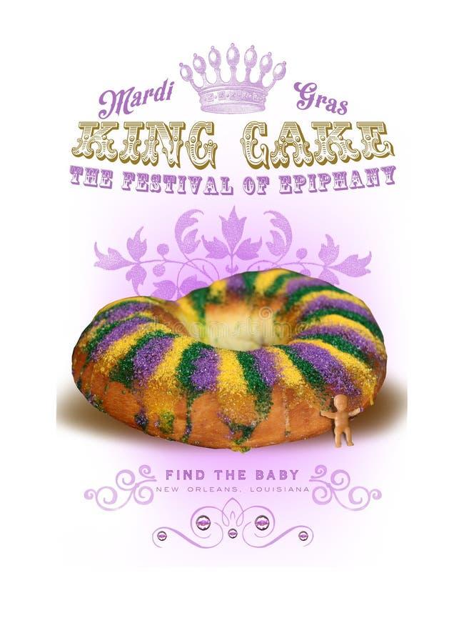 NOLA kultury ostatków królewiątka Inkasowy tort royalty ilustracja