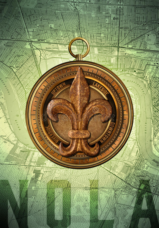 NOLA New Orleans Louisiana Compass vektor illustrationer