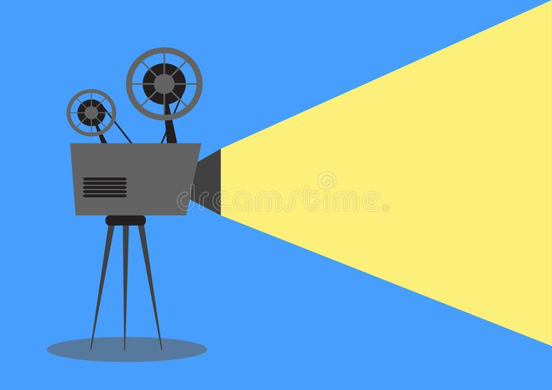 Camera, film, background, entertainment, movie, video, reel, vintage, illustration, cinema, picture, symbol, icon. NOld cinema project. Illustration of an royalty free illustration