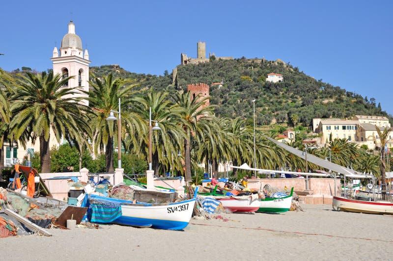 Noli, Riviera Ligure, Italië stock afbeelding