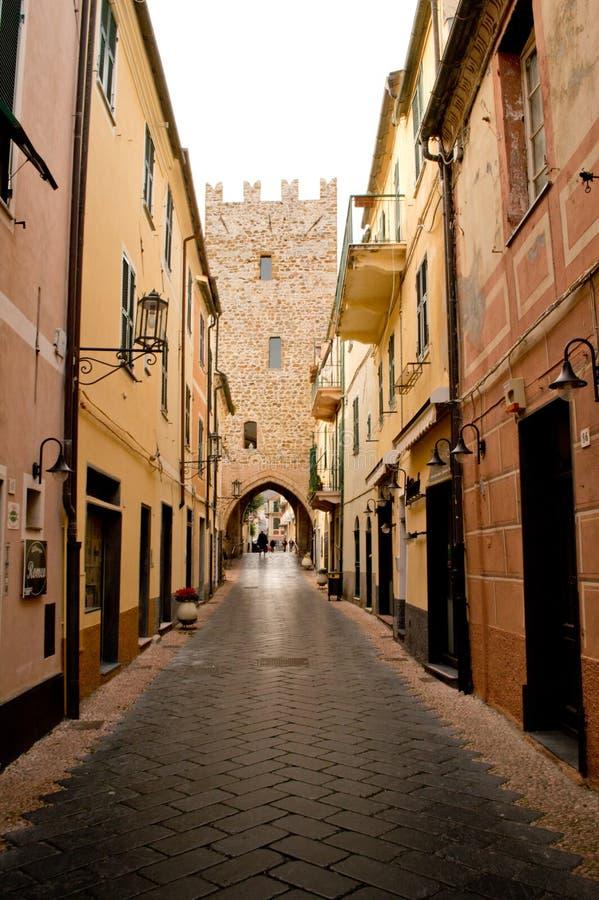 Noli, Torre San Giovanni fotografie stock