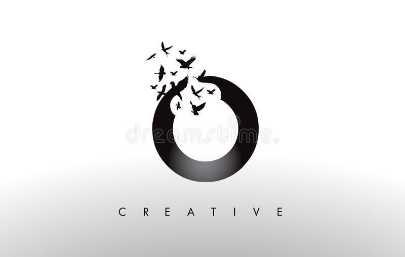 Nolla Logo Letter med flocken av fåglar som flyger och desintegrerar från vektor illustrationer