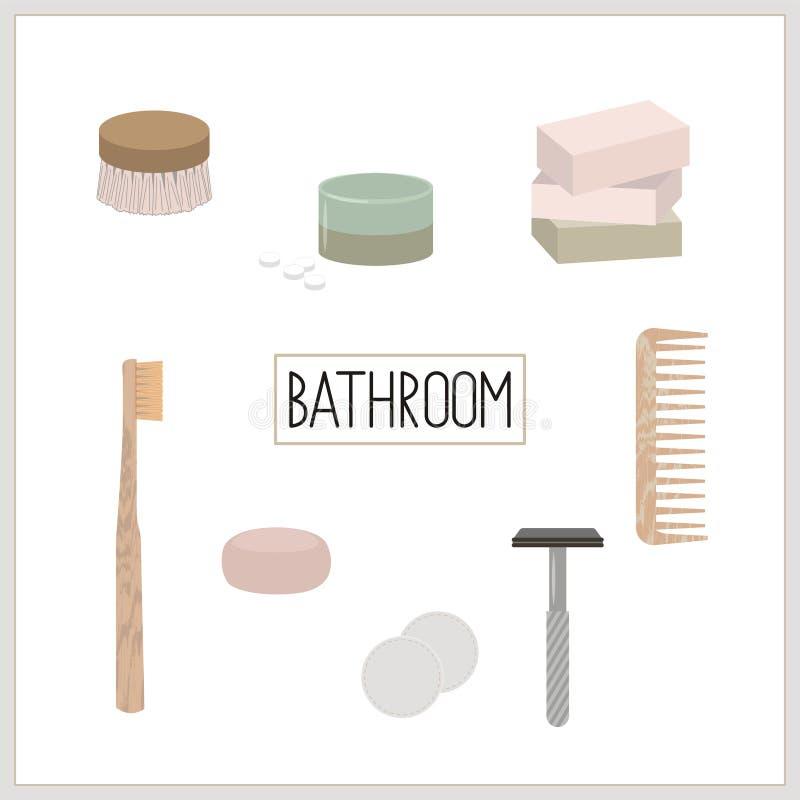 Nollavfalls- och eco-vänskapsmatch badrum royaltyfri illustrationer