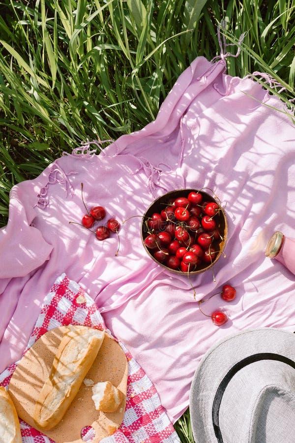 Nollförlorad sommarpicknick på med körsbär i träkokosnötbunken, det nya brödet och glasflaskan av fruktsaftpr-smoothien royaltyfri bild