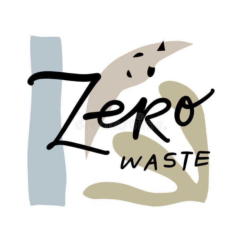 Nollförlorat livbegrepp, utdragna beståndsdelar för hand Den Eco livsstilen, går grön, inte plast- Isolerad illustration på vit b vektor illustrationer