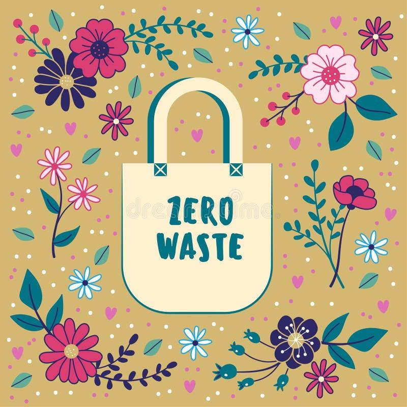 Nollf?rlorat begrepp Bomullspåse på en blom- bakgrund sustainability stock illustrationer