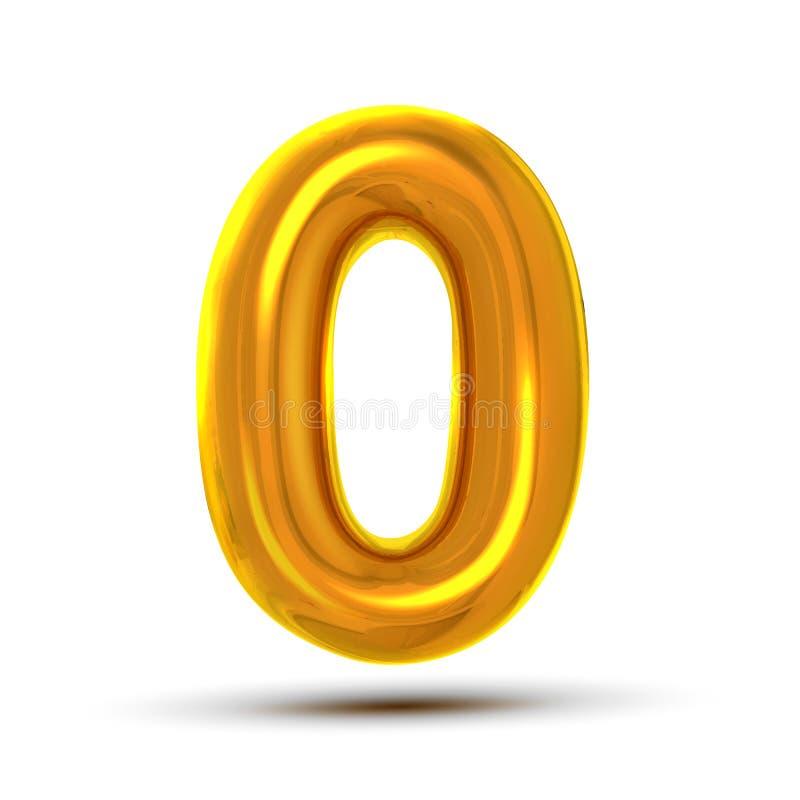 0 nollnummervektor Guld- bokstavsdiagram för gul metall 0 siffra Numeriskt tecken Beståndsdel för alfabettypografidesign vektor illustrationer