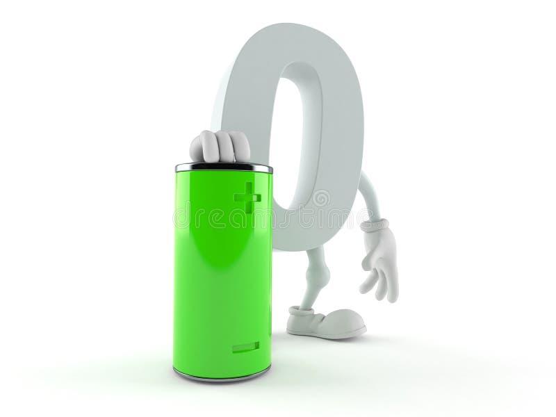 Nolltecken med batteriet royaltyfri illustrationer