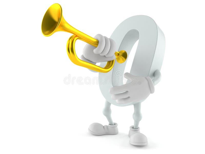 Nolltecken som spelar trumpeten royaltyfri illustrationer