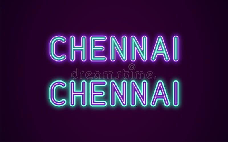 Nom au néon de ville de Chennai dans l'Inde illustration stock