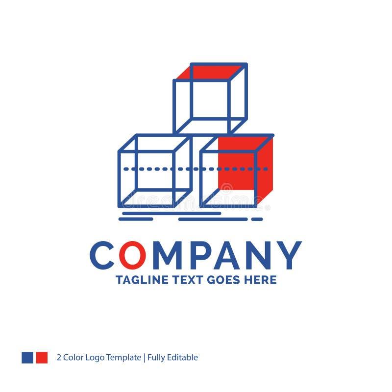 Nom de la société Logo Design For Arrange, conception, pile, 3d, boîte Bl illustration de vecteur