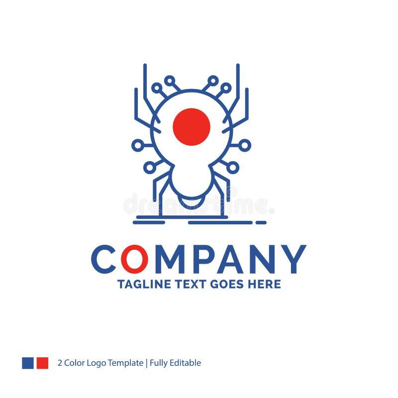 Nom de la société Logo Design For Bug, insecte, araignée, virus, appli Bl illustration de vecteur