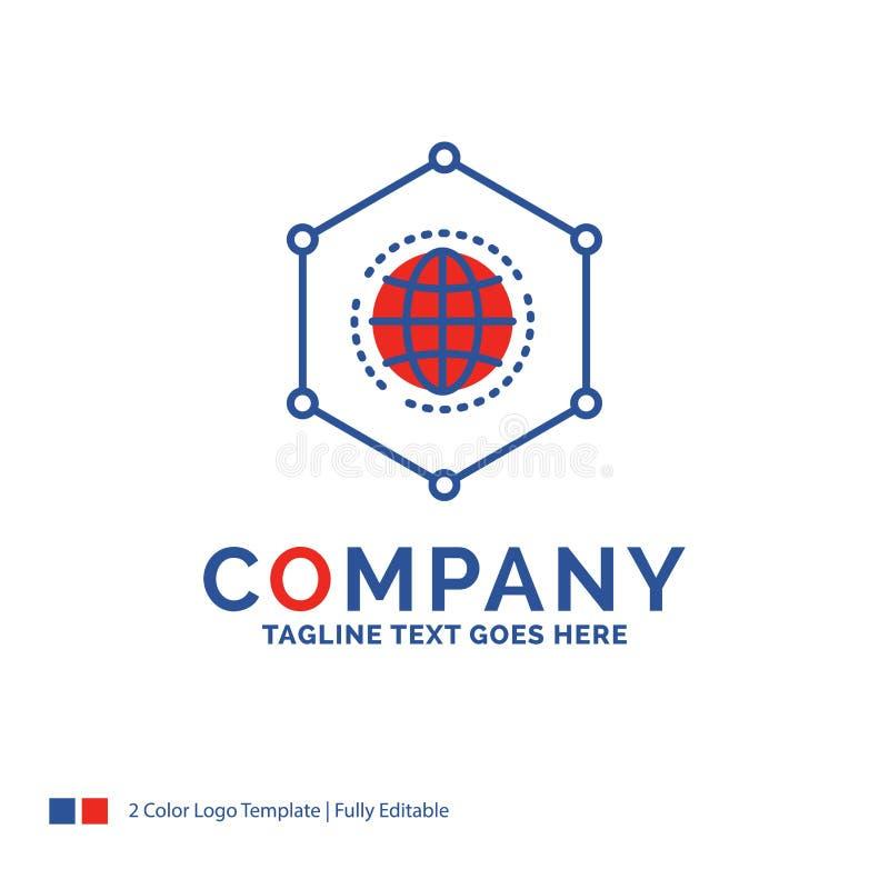Nom de la société Logo Design For Network, global, données, connexion illustration libre de droits