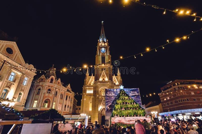 Nom de Mary Church et de place de liberté à Novi Sad photos stock
