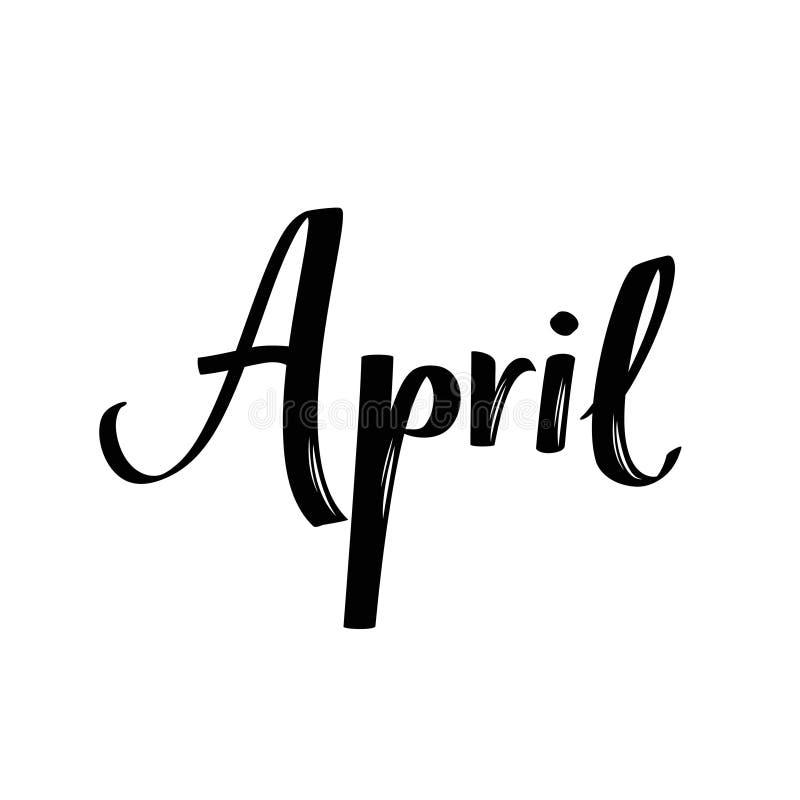 Nom de mois d'avril Mot calligraphique manuscrit Police audacieuse illustration libre de droits