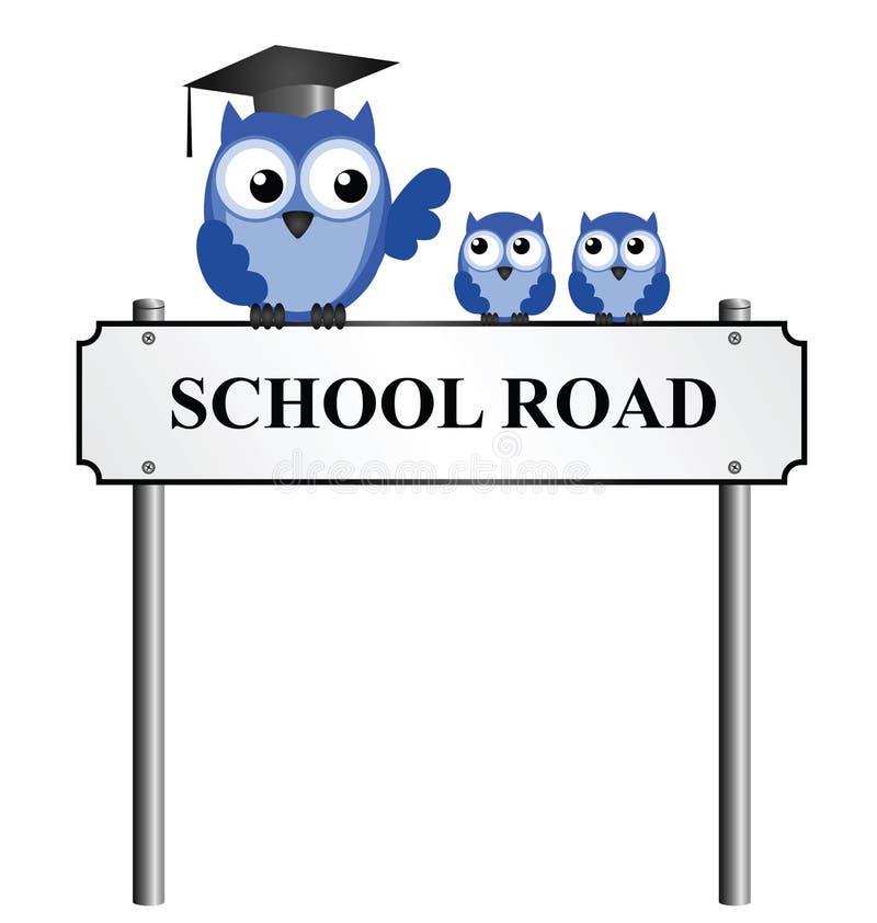 Nom de rue de route d'école illustration stock