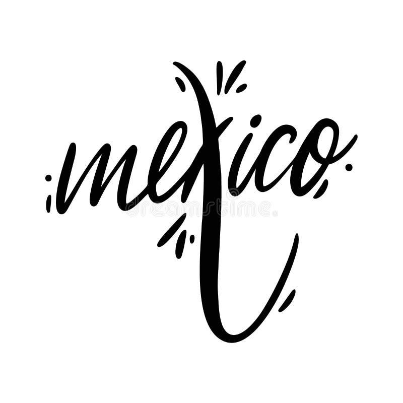 Nom du Mexique Lettrage tiré par la main de vecteur D'isolement sur le fond blanc illustration stock