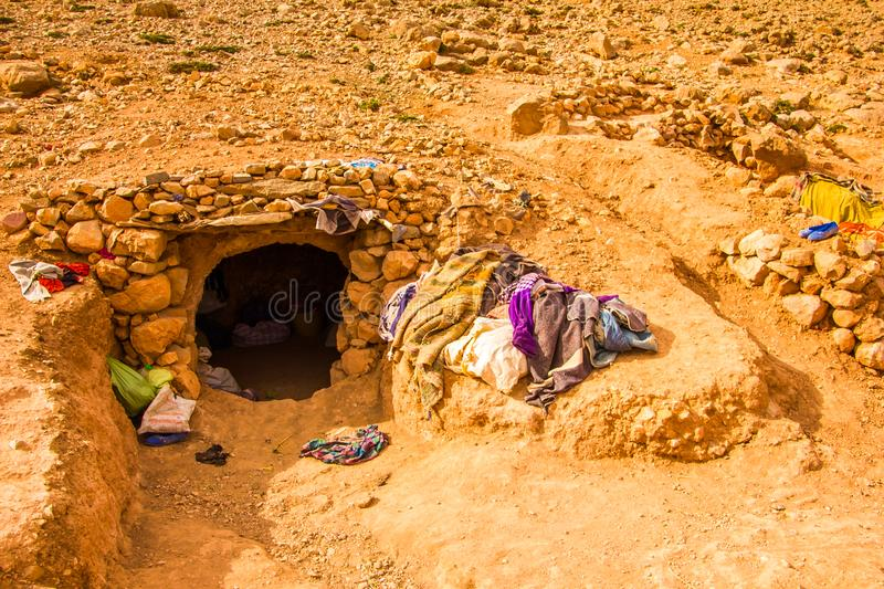 Nomad camp in caves near Todra Gorge, Tinghir, Morocco, Africa royalty free stock images