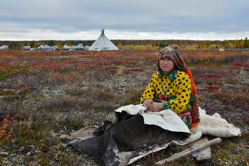 Housewife of nomad tribe takes a rest in front of camp during reindeer migration. royalty free stock image