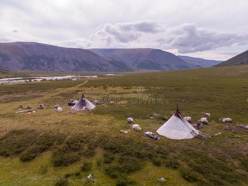 Nomad herding camp in the summer stock photo