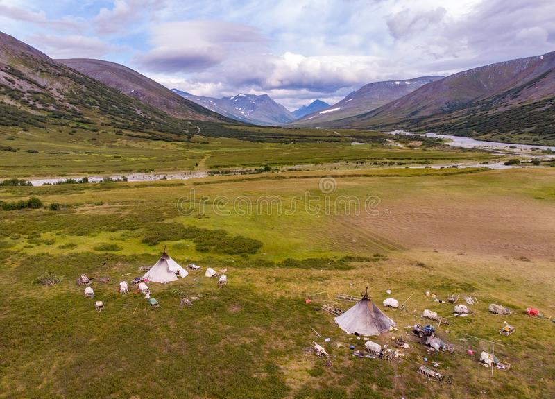 Nomad herding camp, Yamal. Russia. Aerial view stock photography
