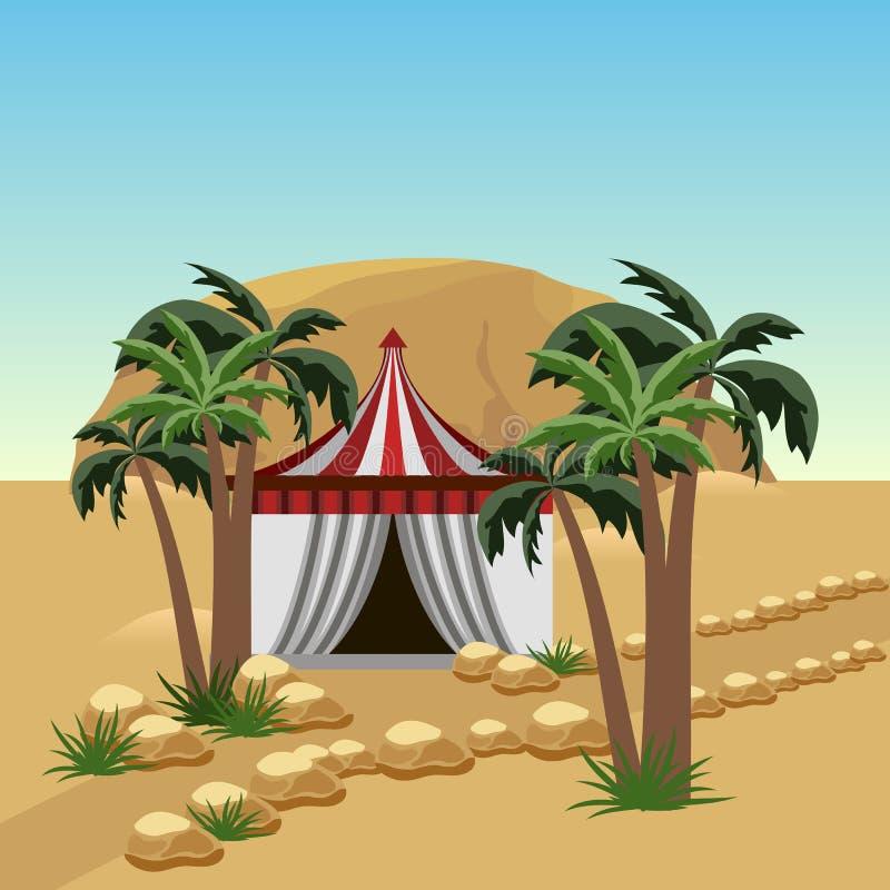 Nomad tent in desert - landscape for cartoon or game asset. Sand dunes, Bedouin tent, palms, rocks. Vector illustration royalty free illustration