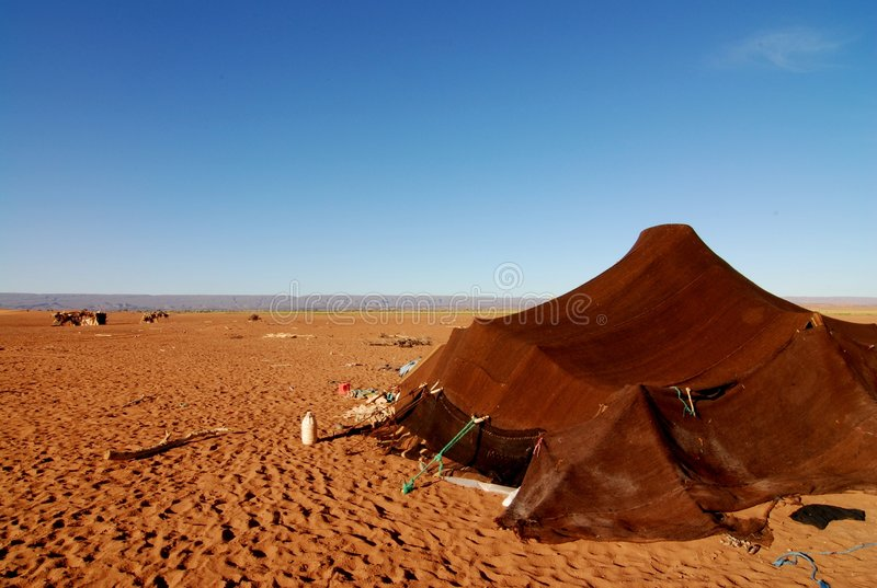 Nomad Tent in Sahara Desert stock photo