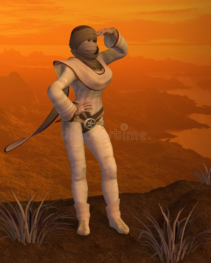 Download Nomad Woman On A Desert Mountain Royalty Free Stock Photos - Image: 21483078