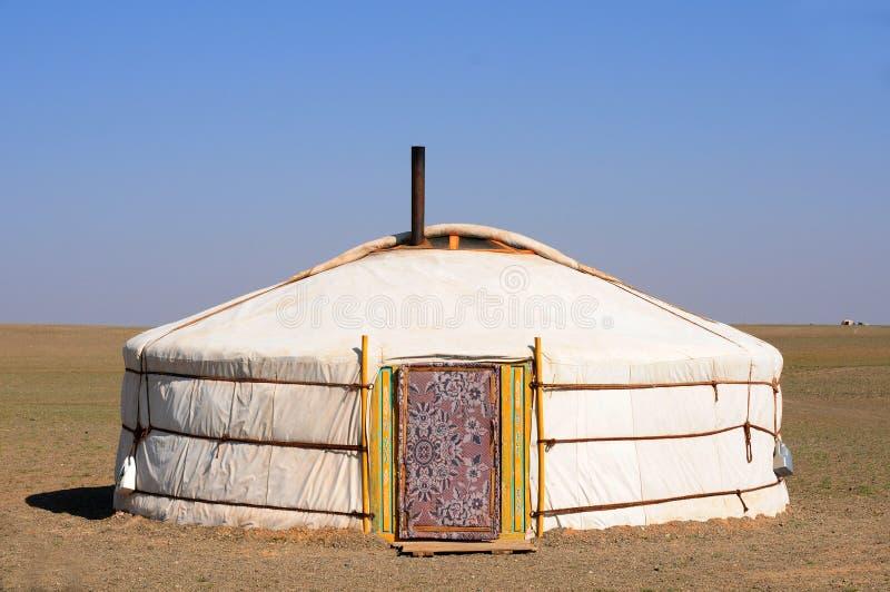 Nomade gers (yurt) d'â de la Mongolie image stock