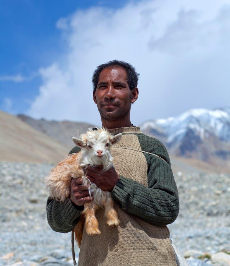 Nomade tibétain avec goatling dans Ladakh, Inde images stock