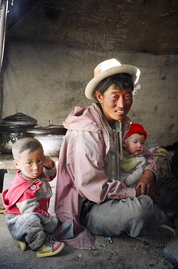 Nomader i Ladakh, Indien arkivfoto