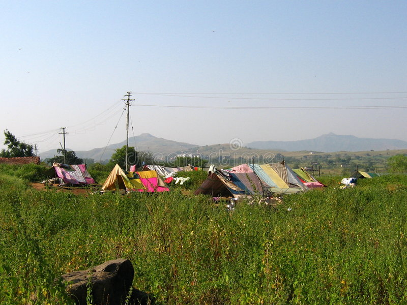Nomadic huts. Colorful huts of nomads in India royalty free stock photos