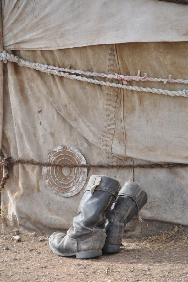Nomads shoes. Mongolia royalty free stock photo