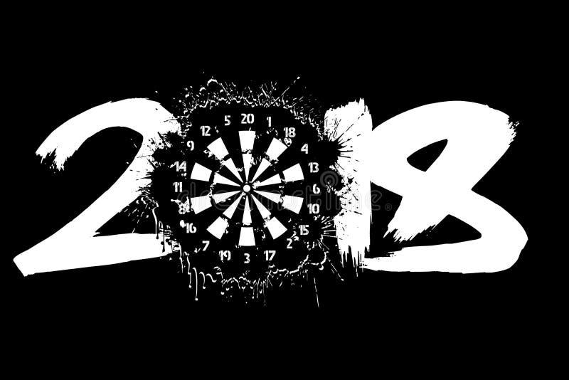 Nombre abstrait 2018 et panneau de dards illustration de vecteur