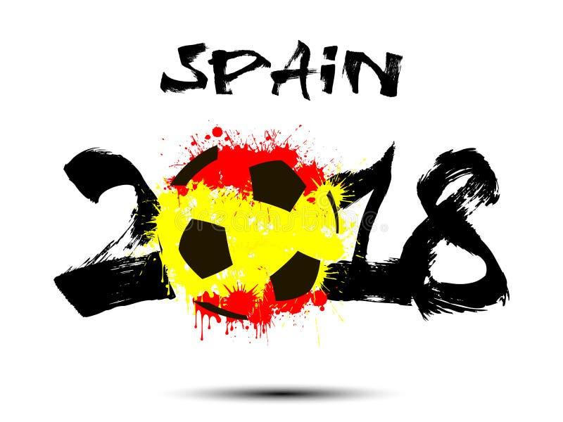 Nombre abstrait 2018 et tache de ballon de football illustration stock