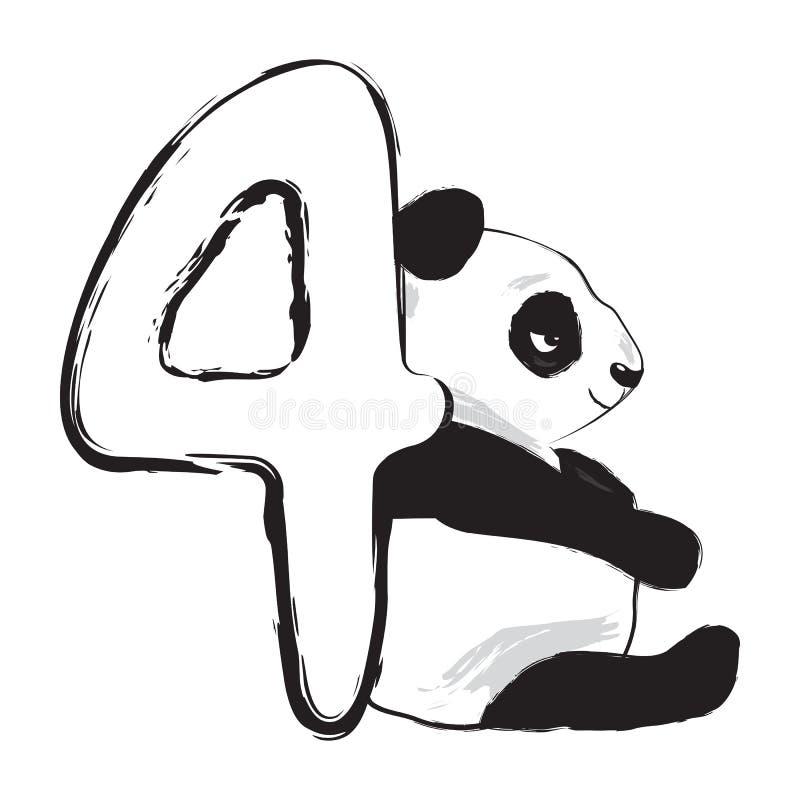 Nombre animal mignon quatre d'ours panda avec l'illustration de bébé de bande dessinée illustration libre de droits