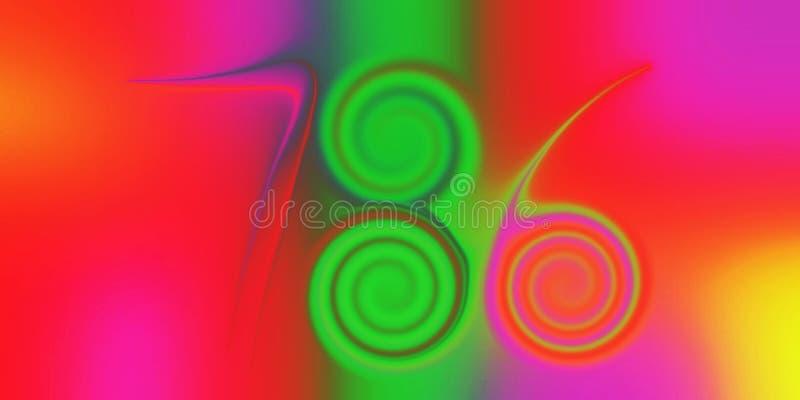 Nombre chanceux coloré 786, scintillant, ombragé et allumé avec le fond d'image d'effet de 3 d et la conception générés par ordin illustration de vecteur