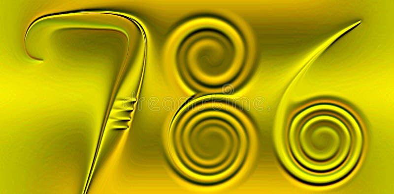 Nombre chanceux coloré 786, scintillant, ombragé et allumé avec le fond d'image d'effet de 3 d et la conception générés par ordin illustration stock