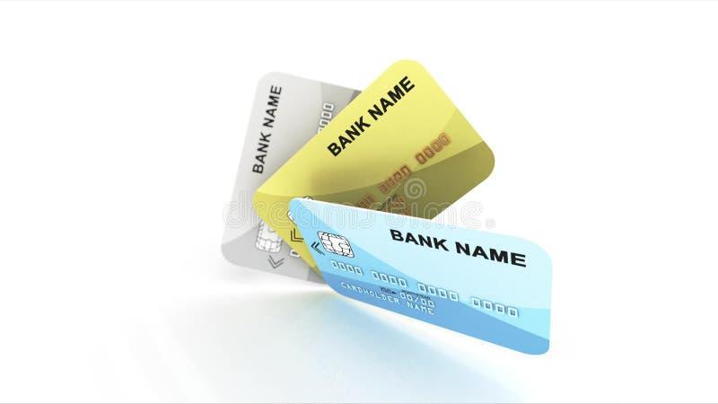Nombre de banco de tres tarjetas de crédito ilustración del vector