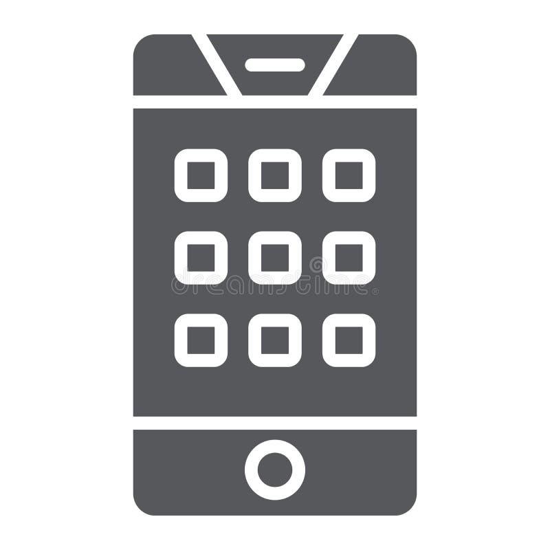 Nombre de cadran sur l'icône de glyph de téléphone, le mobile et l'appel, clavier numérique sur le signe de smartphone, graphique illustration libre de droits