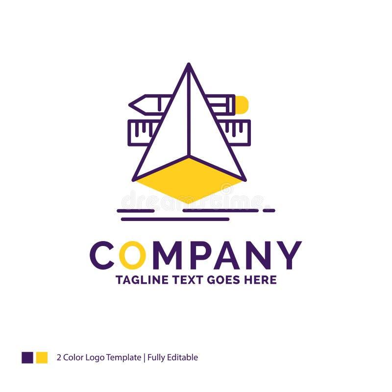 Nombre de compañía Logo Design For 3d, diseño, diseñador, bosquejo, herramientas stock de ilustración