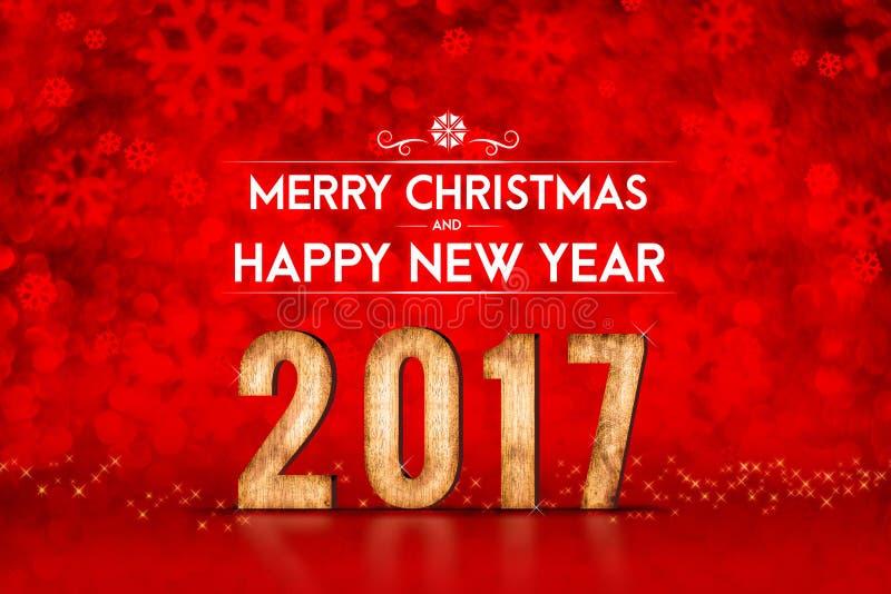Nombre de Joyeux Noël et de bonne année 2017 au scintillement rouge photo stock