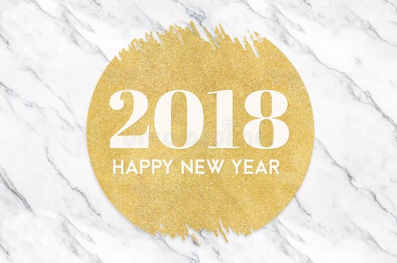 Nombre de la bonne année 2018 sur le scintillement de cercle d'or sur le marbl blanc images libres de droits