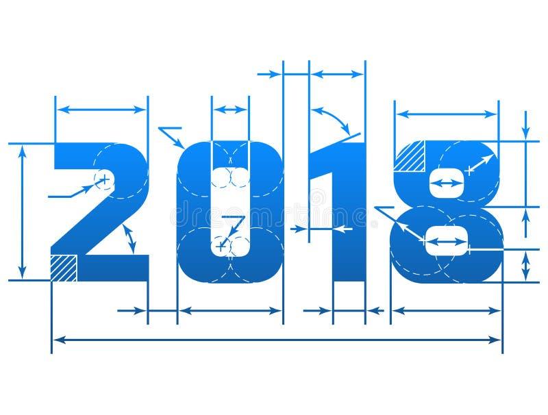 Nombre de la nouvelle année 2018 avec des lignes de dimension illustration stock