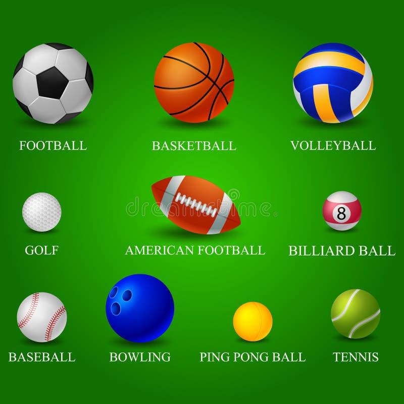Nombre de las bolas stock de ilustración