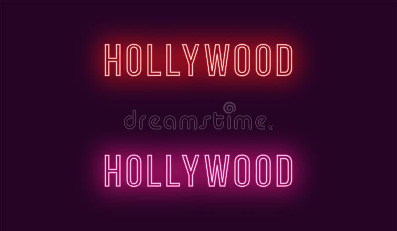 Nombre de neón del distrito de Hollywood en Los Angeles stock de ilustración