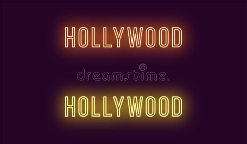 Nombre de neón del distrito de Hollywood en Los Angeles ilustración del vector
